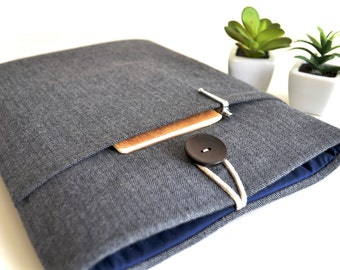 "9.7"" iPad Case 12.9"" iPad Pro Case iPad Pro Sleeve iPad Pro Carrying Case Padded iPad Holder iPad Carrier - Flannel Herringbone"