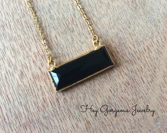 Electroplated faceted onyx bar necklace-layering necklace-onyx necklace-valentines gift