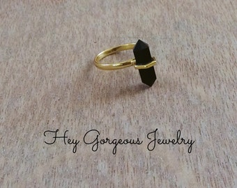 Gold plated onyx crystal point stacking ring-double terminated- onyx ring-gemstone ring-stackable ring-valentines gift