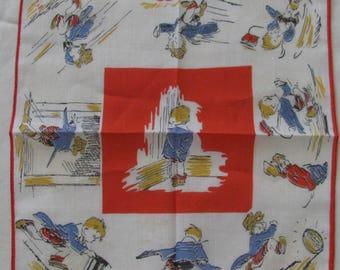 Vintage 40's-50's Figural Print Child's Handkerchief Hankie of Comic Strip Character SKIPPY Naughty Boy