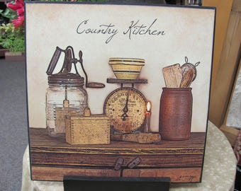 Primitive Kitchen Decor,Country Kitchen,Butter Churn,Vintage Scale,Wood Wall Decor,12x12,Susie Boyer