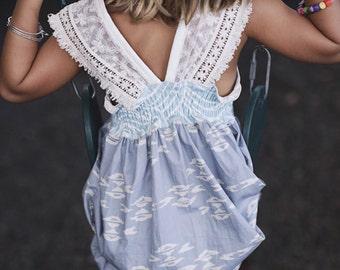 Girl's Dress - Lace Sleeves - Fringe Trim - Modern Girl's Dress Children Clothing Handmade by bitty bambu