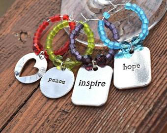 Message Wine Charms - Hope - Hearts - Inspire - Peace Beaded Wine Charm Set - Wine Jewelry