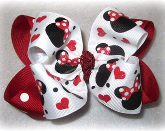 Minnie Mouse Double Layered Boutique Lush Hair Bow Red Dots, White and Black with Spikey Edges for Baby Toddler or Little Girl