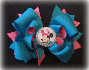 Minnie Mouse Hairbow, Minnie Bows, Boutique hairbows, Magical Hairbow, Girls hair Bows, Turquoise Bows, Pink Minnie Bow, Minnie Band, Baby