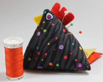 Chicken Pincushion-Black on Black with Multi-Colored Dots