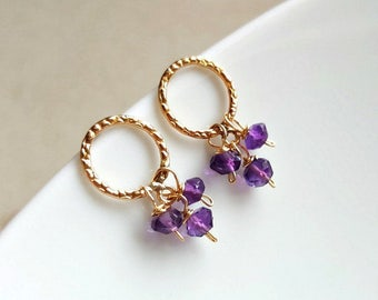 Amethyst Earrings , Amethyst Dangle Post Earrings , Circle Studs , Gold Post Earrings , February Birthstone , Gift for Her