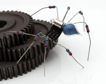 Unique Steampunk Recycled Spider- Halcyon- Upcycled blue resistor chip electrical component spider desk sculpture- gifts for him