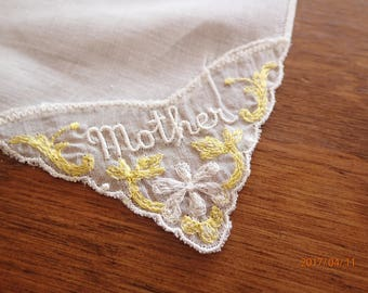VIntage Linen Mother's Handkerchief Hanky Wonderful Embroidery Detail