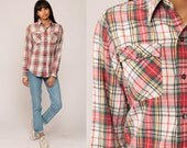 Plaid Shirt 70s Cotton Red Green White Tartan 1970s Button Down up Vintage Hipster Checkered Long Sleeve Pocket Small