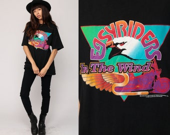 Biker Shirt EASYRIDERS Eagle TShirt 90s Motorcycle T Shirt Tee Graphic Tshirt In The Wind Hipster 1994 Retro Extra Large xl