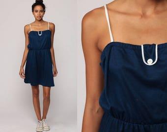 Summer Dress Sun Boho 70s Sundress Mini Spaghetti Strap Vintage 1970s Bohemian Dark Blue Hippie High Waist Minidress Small