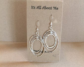 3D Hammered Sterling Silver long oval earrings