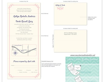 Simple Romance Seal and Send Invitation - All In One Invitation - Perforated RSVP Card - Folding Wedding Invitation