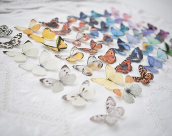 Set of 3 Hand cut silk butterfly hair clips with Swarovski Crystals. Beautiful wedding accessories. Choose any 3 from the 53 shown!