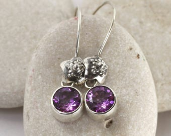Threaded purple gemstone earrings in sterling silver and topaz with decorated star accents