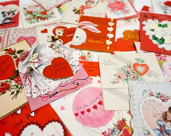 Vintage 1930s to 60s Valentine Cards / Used Set of 30 Folded / Collectible Ephemera Greeting Card, Scrapbooking Craft Supply
