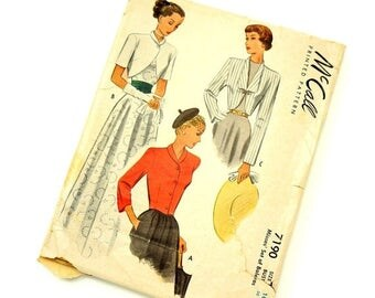 Shop Sale Vintage 1940s Womens Size 10 Set of Boleros McCalls Sewing Pattern 7190 / bust 30 / Complete