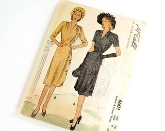 Shop Sale Vintage 1940s Womens Size 16 Cascade Dress McCalls Pattern 6601 / bust 34 waist 28 / Complete