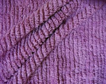 Purple Ultra Plush Ribbed Vintage Cotton Chenille Bedspread Fabric 12 x 24 Inches
