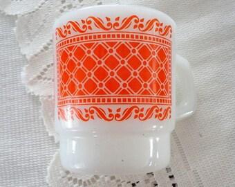 60s Fire King milk glass stakable mug Orange pattern