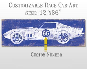 Baby Boy Nursery Art - Nursery Decor - Boys Room Race Car Wall Art Print - Customizable #4