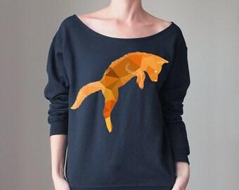 Off Shoulder Sweater Offshoulder Sweater Fox Shirt Fox Sweater Fox Sweatshirt Slouchy Sweater Happy Sweatshirt Cozy Sweatshirt Oversized