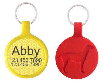 Yellow Honeycomb Geometric Personalized Dog ID Pet Tag Custom Pet Tag You Choose Tag Size & Colors