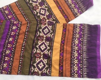 Vintage 60s Purple And Brown SILK Scarf / GEOMETRIC FLORAL Scarf By The Specialty House