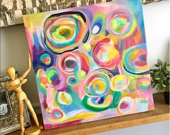 Better Together - Original acrylic painting on canvas, colorful painting, abstract painting, rainbow painting, playroom art, fun art