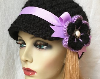 Crochet Womens Hat, Black Newsboy, Brim, Purple Ribbon, Flower, Chunky, Teens, Winter, Ski Hat, Birthday Gifts for Her,JE22N2