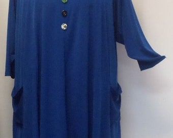 Plus Size Tunic Top, Coco and Juan, Lagenlook, Sapphire Traveler Knit Trapeze Tunic,  Size 2 (fits 3X/4X) 60 inches