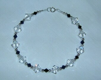 Swarovski Crystal Bracelet - Clear & Cobalt Blue - S.S.,  Silver Pewter Beads - Out of Hand