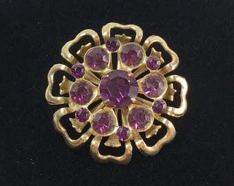 Purple Rhinestone Pin, Gold Tone Flower Brooch, Vintage Jewelry Gift