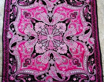Vintage Silk Scarf Paisley Pink Black Gray Jones New York Sheer Square