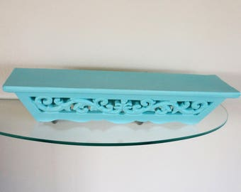 Vintage Wood Wall Display Shelf Painted Aqua Wooden Wall Hanging Scroll Accents
