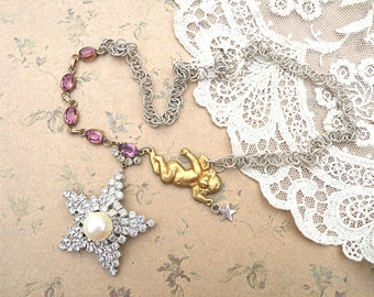 rhinestone star assemblage necklace celestial angel upcycled vintage jewelry galaxy fae faery fairy romantic