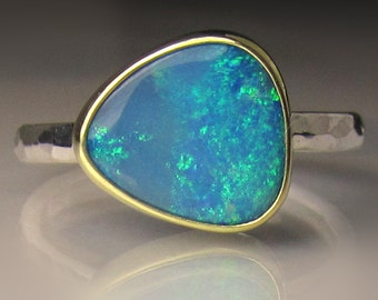 Boulder Opal Ring, Australian Opal Ring, Blue Opal Ring, 18k Gold and Sterling Silver