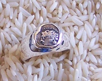 Authentic Ancient Greek Coin Ring of Apollo Minted c. 400 B.C.