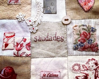 LONGING Mixed Media Nine Patch Romantic Red & White Fabric Story Handstitched
