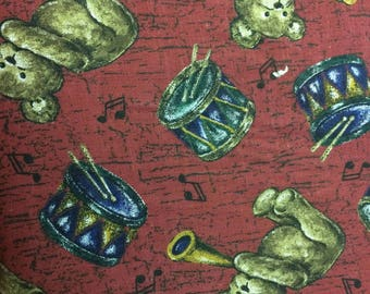 Teddy Bear with Trumpets and Drums Print 100% Cotton Fabric