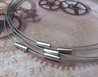 Free UK postage - Pack of 5 Silver Tone Collar Necklace Choker with Magnetic Clasp