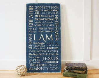 Names of God I AM Jesus Messiah Elohim Almighty God Wood Sign Rustic Subway sign - Vertical - Carved Rustic Farmhouse Wooden Sign