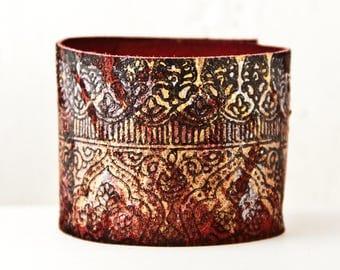 Cuff Bracelet for Women Rainwheel Leather Jewelry Handmade OOAK