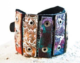 Boho Gypsy Bracelet Mosaic Jewelry Metal Buckle Cuff
