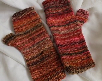 hand knit fingerless mitts/ hand warmers