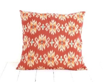 Pillow, Cushion, Ikat, Cotton, Handwoven, 16x16, Orange