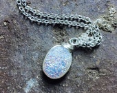Rainbow opal druzy necklace silver wirewrapped chain