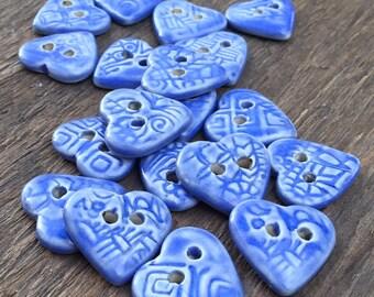 Cute Blue Heart Shaped Textured Ceramic Buttons