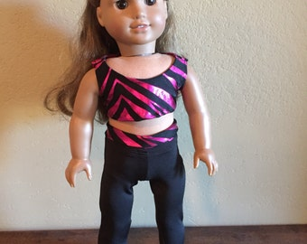18 Inch Doll Clothes Metallic Pink & Black Zebra Yoga Outfit